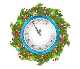 Pictures New year Clock Clock face White background Branches Balls