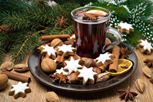 Wallpapers Christmas Cookies Drinks Cinnamon Star anise Illicium Nuts Cup Food