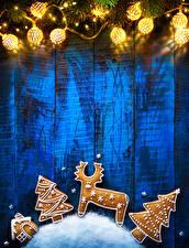 Fotos Neujahr Hirsche Kekse Lichterkette Bretter