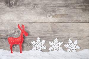Hintergrundbilder Neujahr Hirsche Bretter Schnee Schneeflocken Mauer