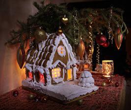 Fotos Neujahr Backware Gebäude Kerzen Stillleben Ast Kugeln Design das Essen