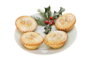 Hintergrundbilder Neujahr Backware Keks Weißer hintergrund Lebensmittel
