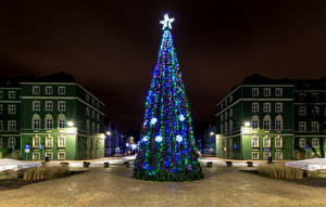Picture New year Poland Building Town square Christmas tree Night Fairy lights Star decoration Street lights Szczecin Cities