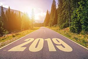 Bilder Neujahr Straße Wälder 2019 Asphalt Natur