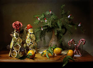 Pictures Christmas Still-life Mandarine Sweets Lemons Vase Branches Design Christmas tree Hat Conifer cone Food