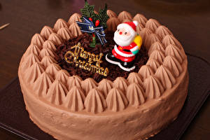 Bilder Neujahr Süßware Torte Weihnachtsmann Design