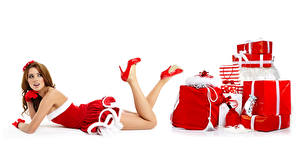 Image Christmas White background Brown haired Uniform Present Legs High heels Girls