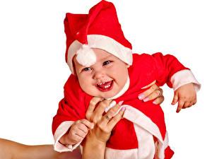 Bilder Neujahr Weißer hintergrund Säugling Uniform Glückliche Mütze kind
