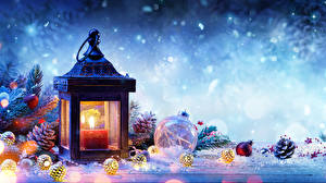 Pictures Christmas Winter Candles Snow Lantern Branches Conifer cone Balls