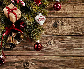 Images Christmas Wood planks Branches Balls Present Bells Heart