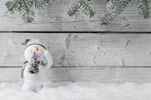 Bilder Neujahr Bretter Wände Schneemänner Christbaum Schnee