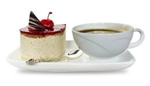 Fotos Kaffee Torte Nachtisch Tasse Frühstück Weißer hintergrund