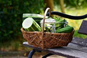 Fotos Gurke Bank (Möbel) Weidenkorb Lebensmittel