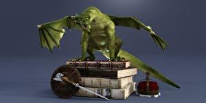 Bilder Drache Krone Buch 3D-Grafik