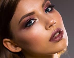 Bilder Augen Lippe Gesicht Schminke Starren Schöner junge frau