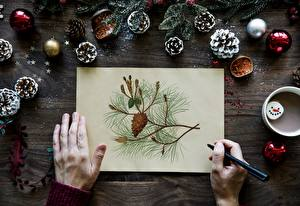 Pictures Fingers Christmas Hands Sheet of paper Branches Balls Conifer cone