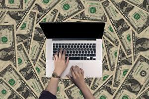 Image Fingers Clock Money Paper money Dollars Laptops Hands Business Computers