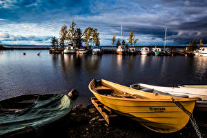 Pictures Finland River Berth Evening Boats Tampere Pirkanmaa Nature