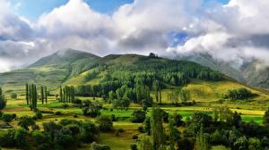 Bilder Wälder Landschaftsfotografie Hügel Wolke Bäume