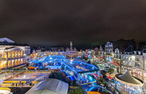 Wallpapers France New year Houses Town square Night time Saint Quentin Cities