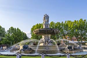 Fotos Frankreich Springbrunnen Skulpturen Löwe Spritzer Aix Provence Städte