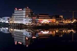 Wallpaper France Houses Rivers Marinas Paris Night Huantian Hotel Cities