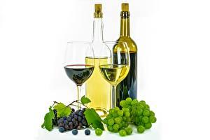Hintergrundbilder Weintraube Wein Flasche Weinglas Weißer hintergrund