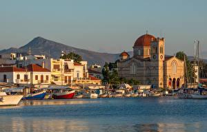 Hintergrundbilder Griechenland Insel Kloster Meer Boot Bootssteg Corfu, Aegean sea, Monastery Of Theotokou Städte