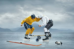 Wallpapers Hockey Two Uniform Fight Ice rink Sport
