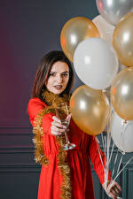 Pictures Holidays Brown haired Balloons Stemware young woman