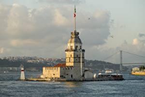 Bakgrundsbilder på skrivbordet Istanbul Turkiet Ett torn Maiden Tower Kiz Kulesi, Bosphorus stad