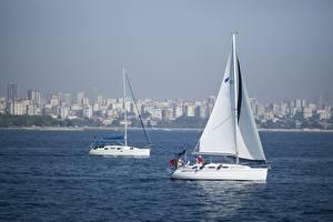 Bakgrundsbilder på skrivbordet Istanbul Turkiet Yacht Segelfartyg Två 2