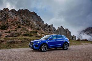 Bilder Jaguar Blau Metallisch 2017-18 E-Pace P300 AWD R-Dynamic Worldwide Autos