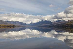 Hintergrundbilder See Gebirge Vereinigte Staaten Landschaftsfotografie Wolke McDonald Lake, Glacier National Park, Montana state Natur