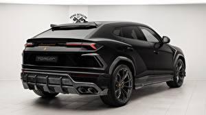Wallpapers Lamborghini Back view Black 2018 TopCar Urus