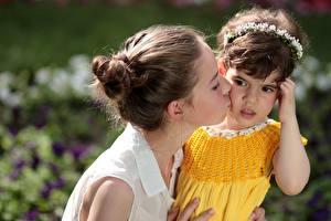 Image Love Mother 2 Brown haired Little girls Glance Kiss Children Girls
