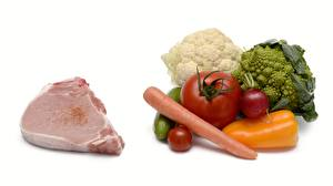 Pictures Meat products Carrots Bell pepper Tomatoes Cabbage Cucumbers Radishes White background Food