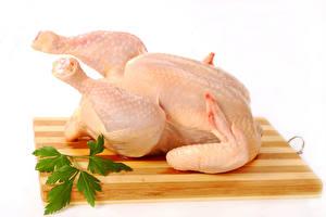 Bilder Fleischwaren Hühnerfleisch Weißer hintergrund Schneidebrett Lebensmittel