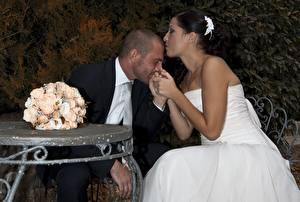 Wallpaper Men Bouquet Couples in love Wedding Bride Grooms Sit 2 Kiss young woman