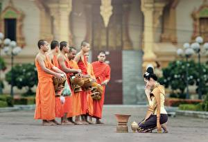 Hintergrundbilder Mann Religion Asiatische Brünette Uniform Mönch Mädchens