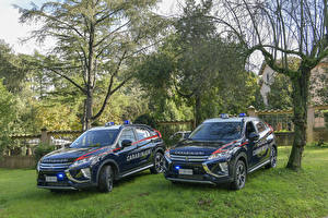 Desktop wallpapers Mitsubishi Tuning Two Blue Metallic Police 2018 Eclipse Cross Carabinieri Cars