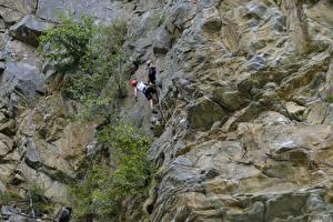 Fotos Gebirge Bergsteigen Felsen Zwei Bergsteiger