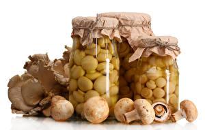 Bilder Pilze Zucht-Champignon Weißer hintergrund Weckglas