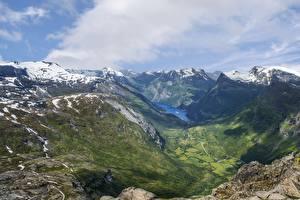 Fotos Norwegen Gebirge Landschaftsfotografie Schnee Wolke Fjord