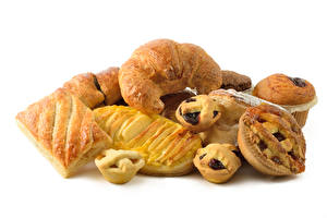 Hintergrundbilder Backware Croissant Brötchen Keks Weißer hintergrund