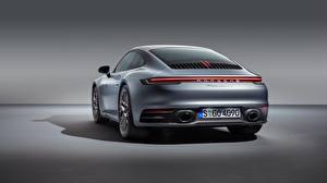 Picture Porsche Back view Silver color 911 Carrera 4S 2019 Cars