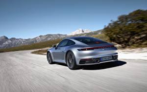 Image Porsche Back view Motion Silver color Carrera 4S 992 2019 Cars