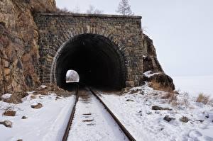 Fotos Eisenbahn Winter Stein Schienen Schnee Tunnel Berezovsky-pass tunnel