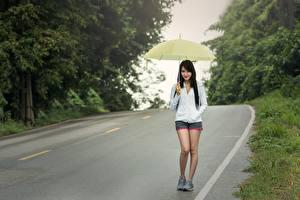 Hintergrundbilder Straße Asiatische Asphalt Wanderung Brünette Regenschirm Mädchens
