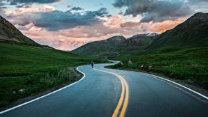 Images Roads Mountains Evening Scenery Asphalt Nature